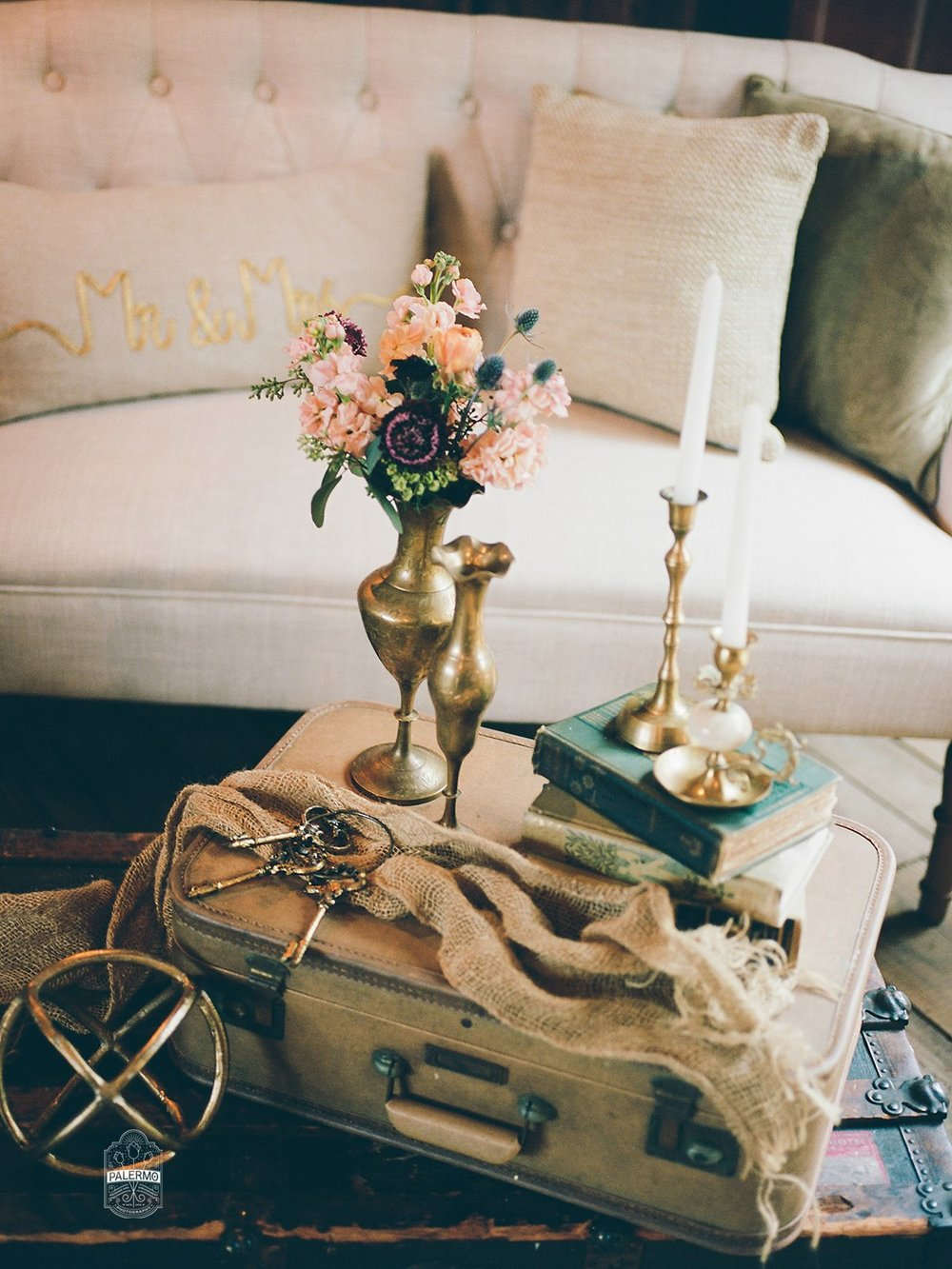 Rustic vintage wedding decor for rustic fall barn wedding in Pittsburgh, PA planned by Exhale Events. Find more wedding inspiration at exhale-events.com!