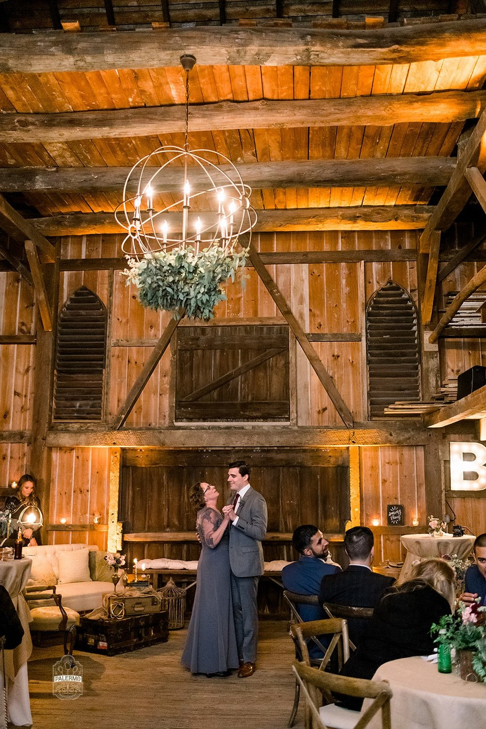 Mother/son dance for fall barn wedding in Pittsburgh, PA planned by Exhale Events. Find more wedding inspiration at exhale-events.com!