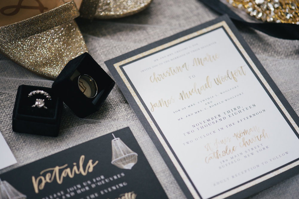 Wedding invitations and stationery with wedding details for black, white, and gold wedding in Buffalo, NY planned by Exhale Events. Find more wedding inspiration at exhale-events.com!