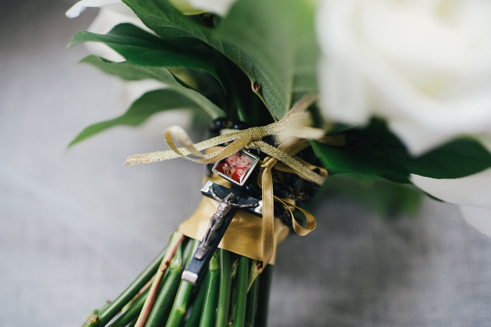 Wedding bouquet memorabilia for black, white, and gold wedding in Buffalo, NY planned by Exhale Events. Find more wedding inspiration at exhale-events.com!