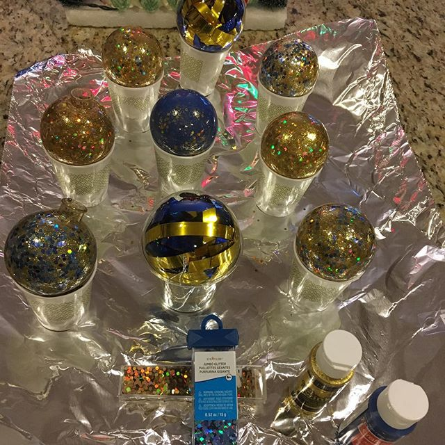 Making Maize and Blue ornaments for Scott's graduation from The University of Michigan this Sunday! Woo hoooo!! GO BLUE!