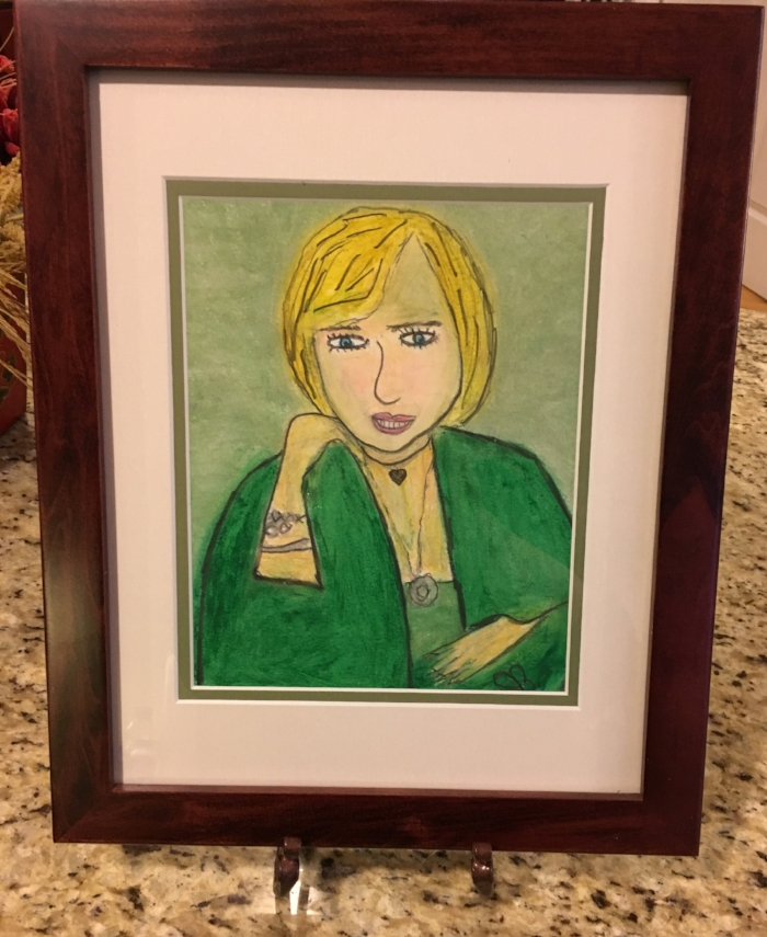 """Janet Blackwell's portrait of me. One of my friends named it,  """"Compassionate Listener."""""""