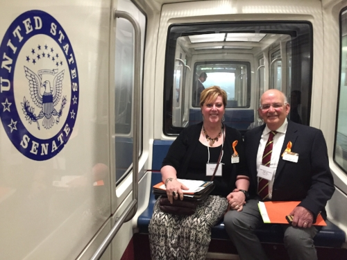 My husband and I loved getting involved. Here we are are riding the Senate underground tram at Infertility Advocacy Day in May 2017 and we will be heading back again in May 2018.