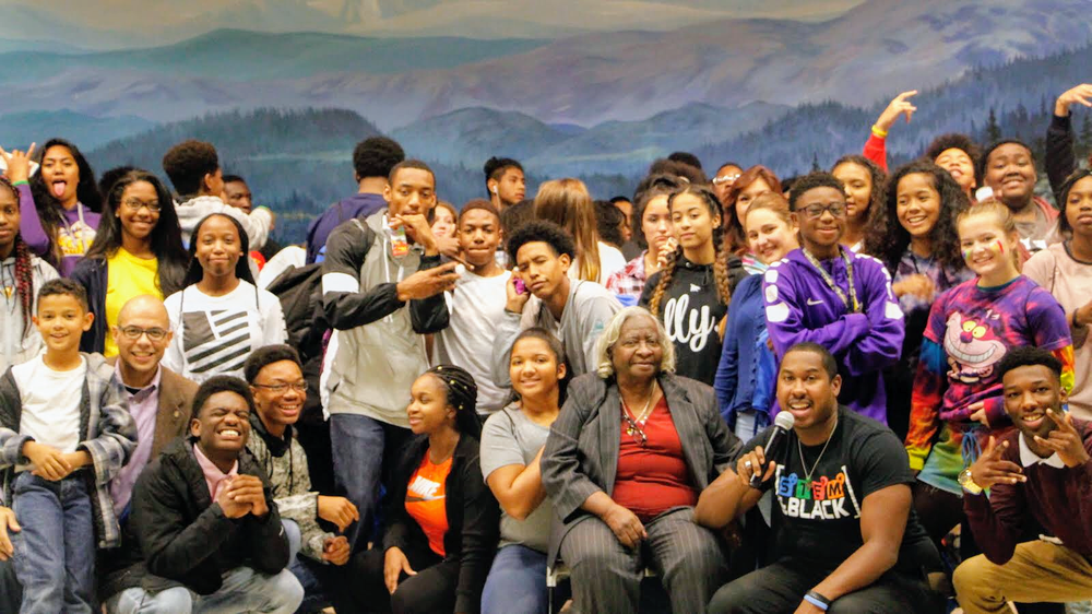 Maurice Dukes(Petroleum Engineer) speaking to students at career prep event (Fairbanks, AK)