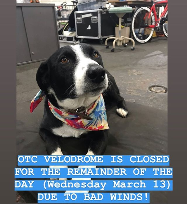 OTC VELODROME IS CLOSED FOR THE REMAINDER OF TODAY DUE TO THE HIGH WINDS. SPREAD THE WORD.  #velodrome #velo #trackcycling #fixiegoon #teamusa #blizzard #cos #bikecos #fixed #fixedgear
