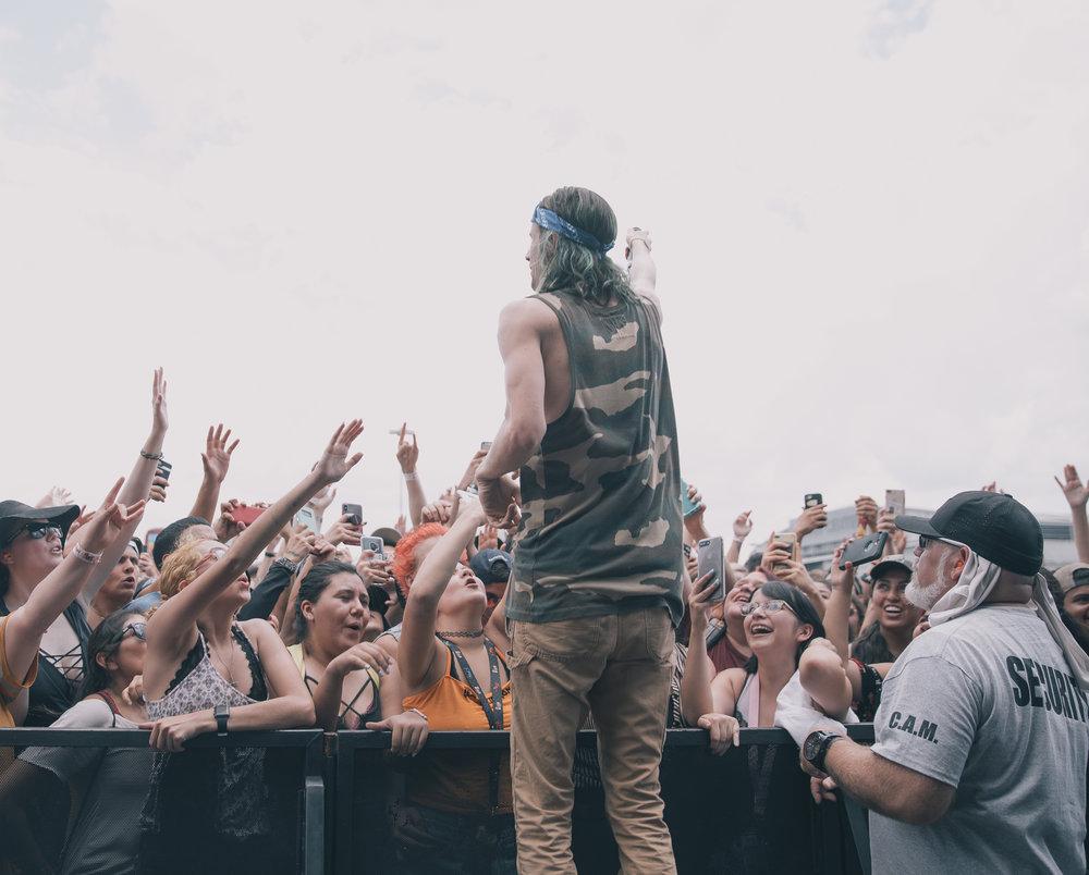 3OH!3 PERFORMING AT VAN'S WARPED TOUR IN SAN ANTONIO, TX ON JULY 07, 2018.