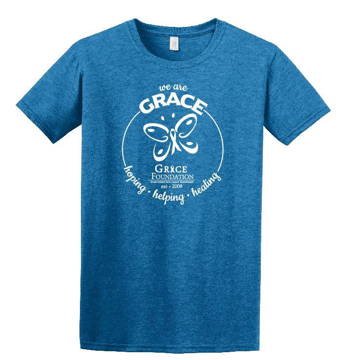 We are GRACE T-Shirt - This is our 2017, super soft turquoise blue We are GRACE t-shirt, limited sizes and quantities available! Please contact the GRACE office to purchase.