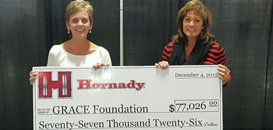 Thank you, Hornady! - Hornady® Manufacturing donated a generous gift of $77,026 to GRACE during their annual Christmas party. 2015 is the 3rd year GRACE has received this gift. The donation was made possible from partial proceeds of the sale of Hornady® Critical Defense® Lite™ ammunition sold from November 2014 through November 2015. Critical Defense® Lite™ features a pink bullet tip and pink ribbon packaging to help showcase support in the fight against cancer.