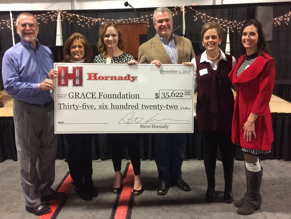 Thank you, Hornady! - Hornady® Manufacturing has donated a generous gift of $35,622 to The GRACE Foundation during their annual Christmas party. This is the 5th year The GRACE Foundation has received this gift. The donation was made possible from partial proceeds of the sale of Hornady® Critical Defense® Lite™ ammunition sold from November 2016 through November 2017. Critical Defense® Lite™ features a pink bullet tip and pink ribbon packaging to help showcase support in the fight against cancer.