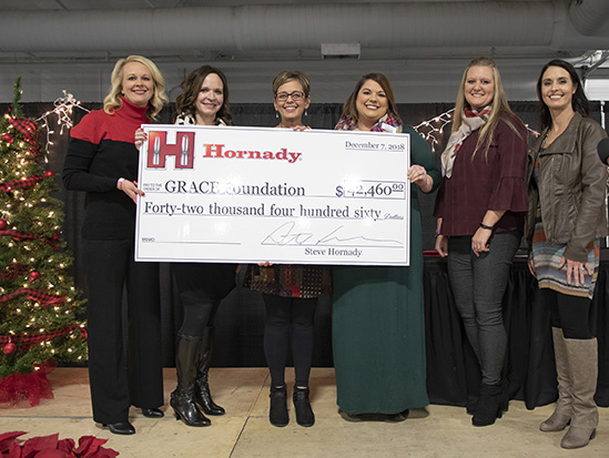 THank you, Hornady! - Hornady® Manufacturing donated a generous gift of $42,460 to GRACE during their annual Christmas party. 2018 is the 6th year The GRACE Foundation has received this gift. The donation was made possible from partial proceeds of the sale of Hornady® Critical Defense® Lite™ ammunition sold from November 2017 through November 2018. Critical Defense® Lite™ features a pink bullet tip and pink ribbon packaging to help showcase support in the fight against cancer.