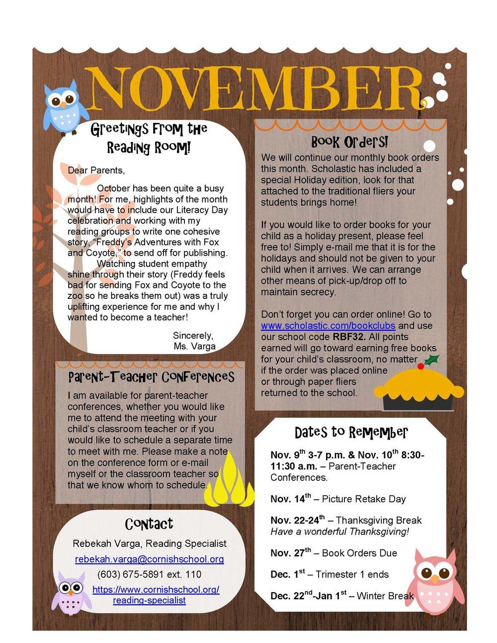 Ms  Varga Newsletter — Cornish School
