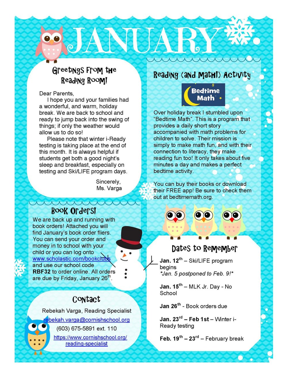 Ms. Varga January Newsletter — Cornish School