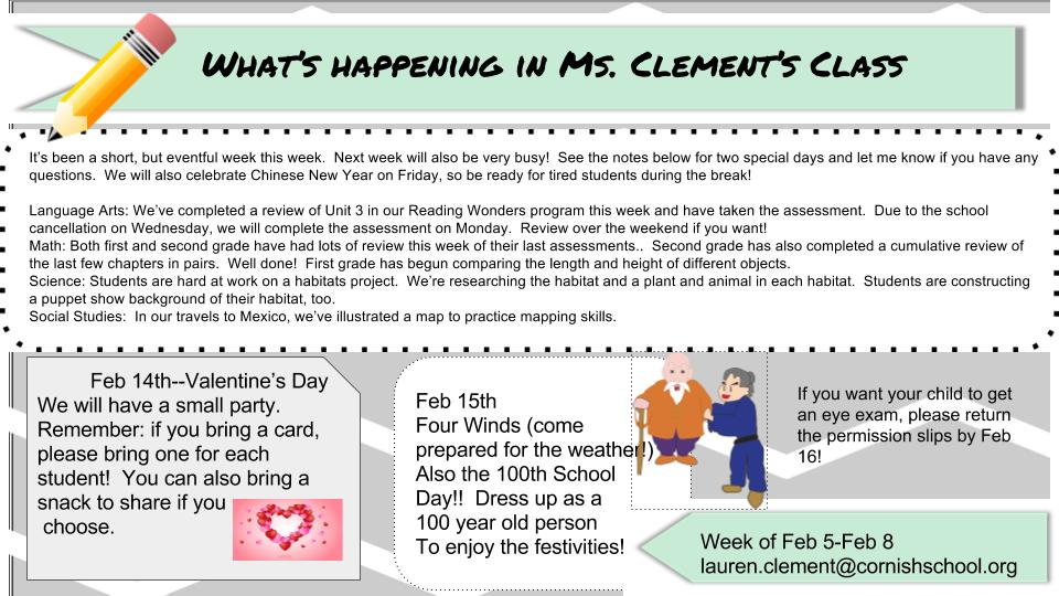 ms clement newsletter cornish school