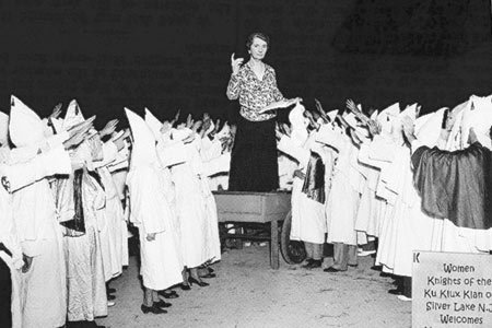 Margaret Sanger gives a speech in front of the woman of the Ku Klux Klan. Photo Credit: Margaretsangernationalhistoryday.com