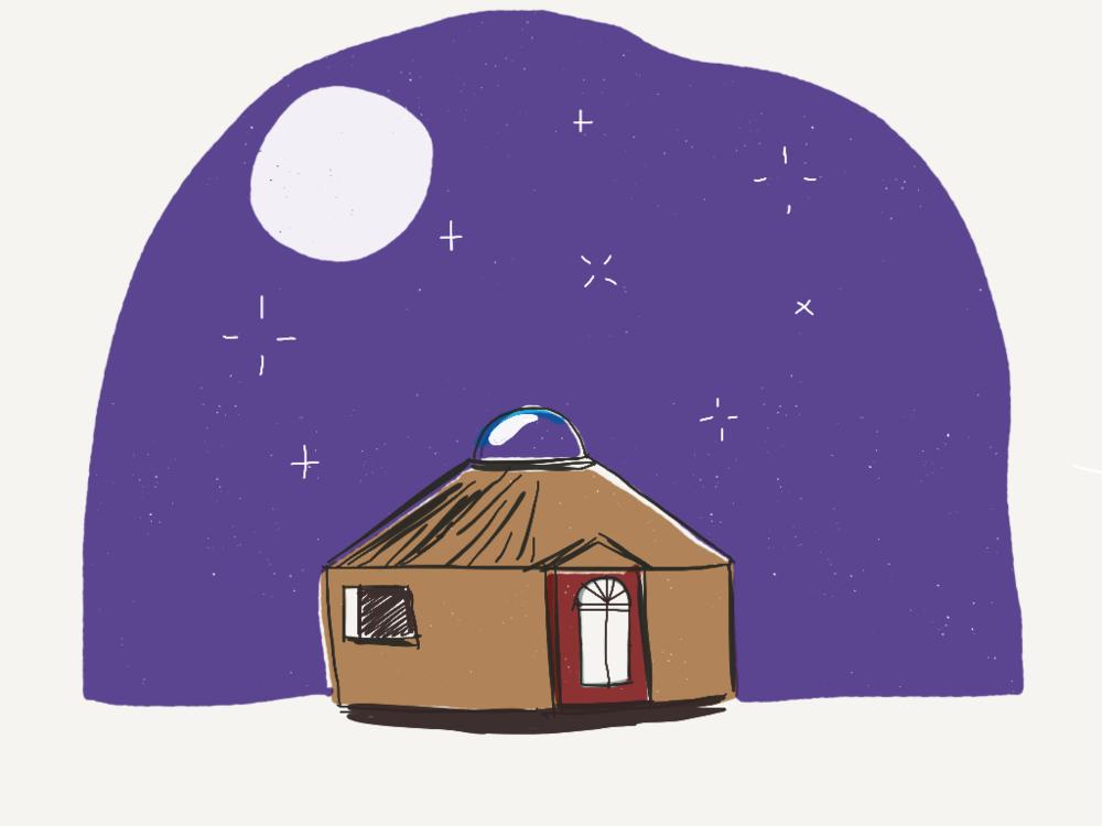 Yurt -  tiny living illustration for Favourite Human blog