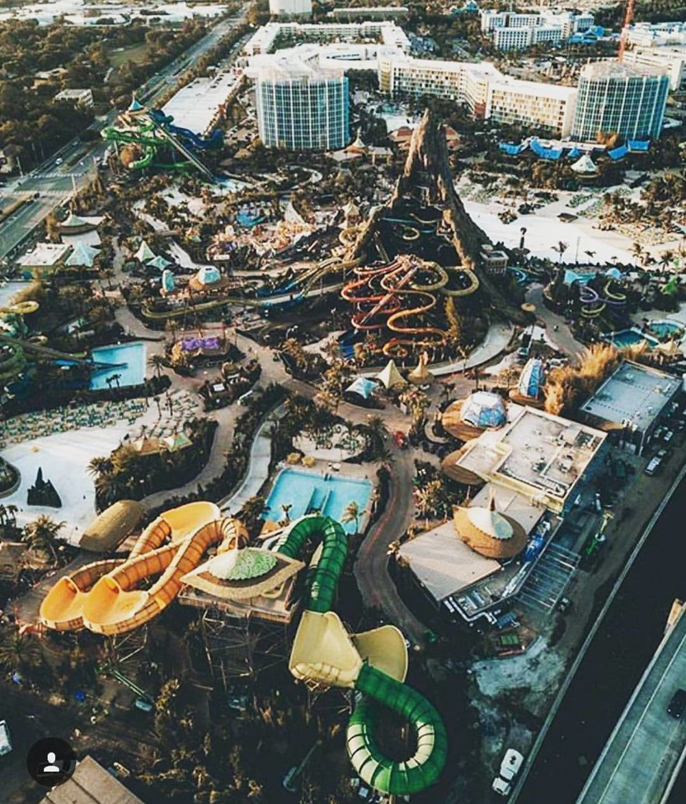 Universal Orlando's Volcano Bay Resort from above. Universal Orlando's Cabana Bay Beach Resort is at the top of the photo.