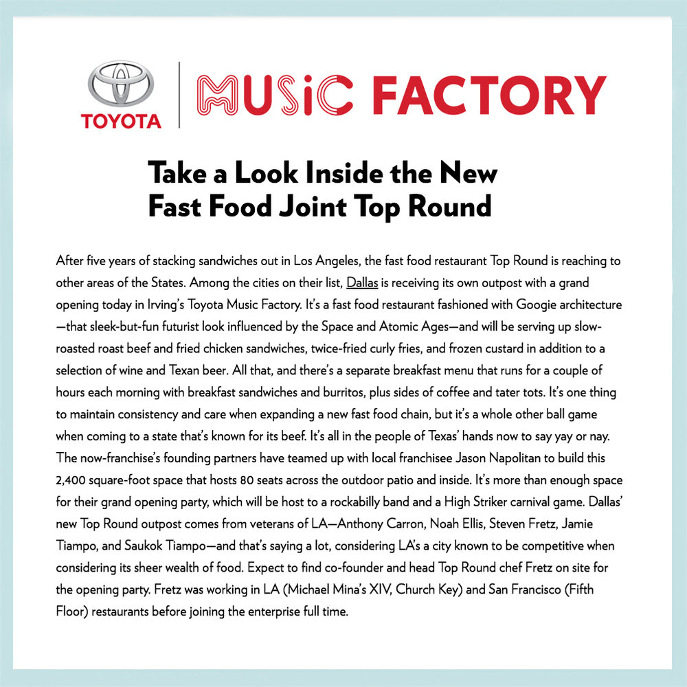 Source: Toyota Music Factory