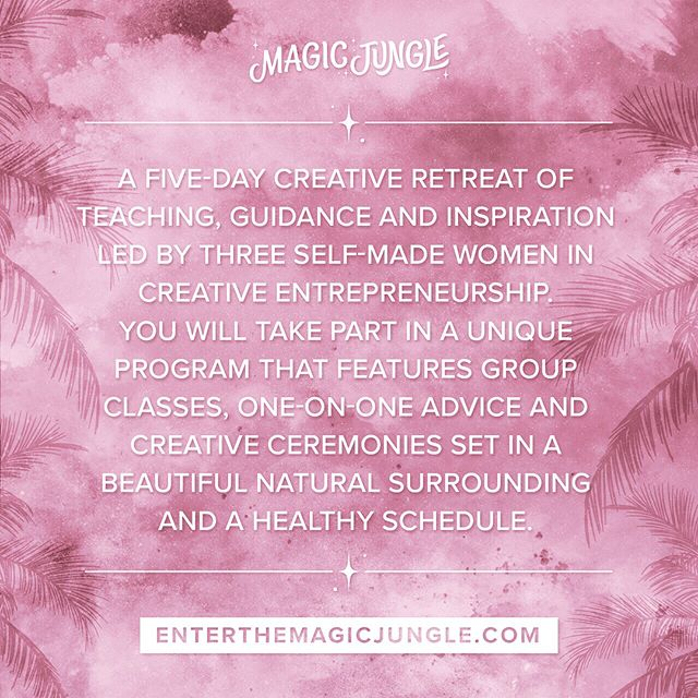 💓🌴The Magic Jungle Experience, October 23-28 🌴💓 This retreat dives deep into your creative project, it's like going to school for creative business in paradise 😍Take advantage of our Early Bird Price and register now before it's too late. The program is so special and personalized, see you in the jungle! 🐒 #EnterTheMagicJungle