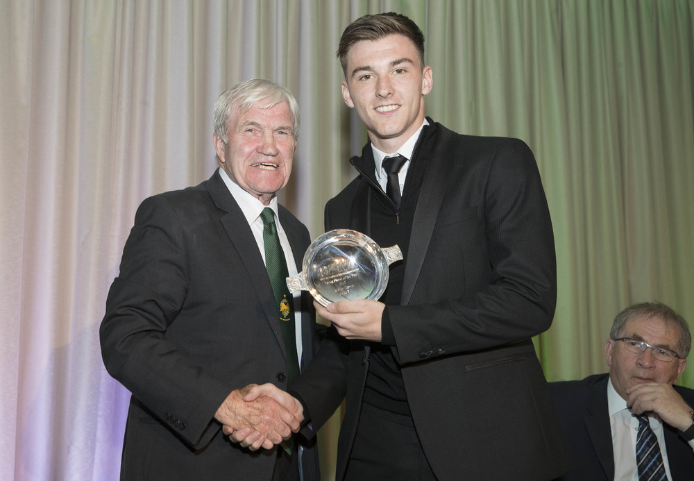 Lisbon Lion Bertie Auld presented Kieran Tierney with the Young Player award