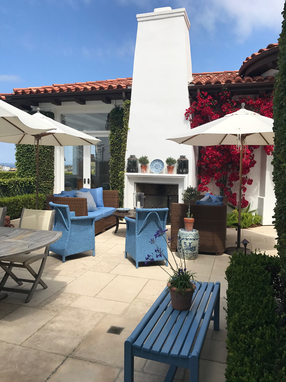 Patio with outdoor fireplace in Laguna Beach