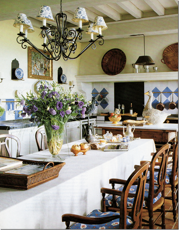 French Provencal kitchen with white and blue decor,