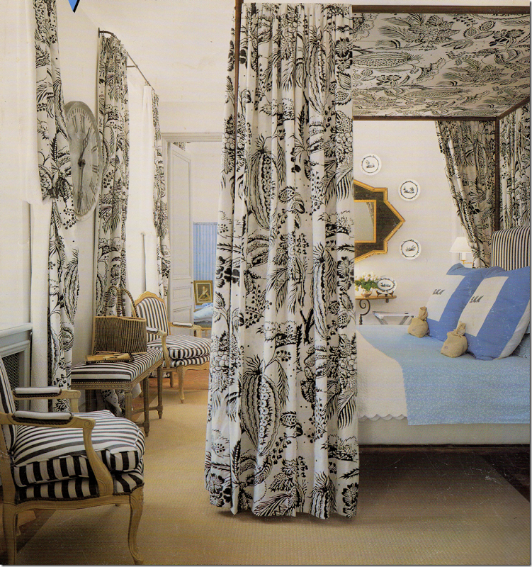 French bedroom with toile canopy.