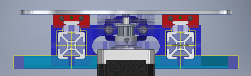 Cross-section view of the end of the GEN2 - Y-Axis, with the Rear Stepper Bracket Transparent