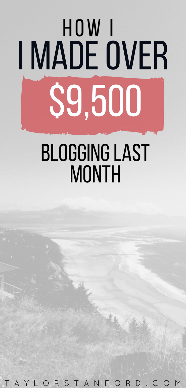Here's how Taylor made  $9,244.42 online, while working from home and traveling full-time. This is my blogging monthly income report. Here is my first income report for my blog. #firstmonth #incomereport #workfromhome #girlboss