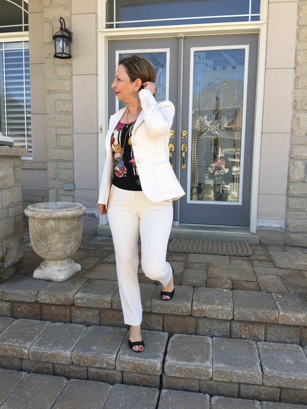 You can be polished, fashionable and comfortable at the same time.  The fabric of this suit moves as easily as a yoga pant.  Though I chose a heel, I could have paired it with a ballet flat for easy walking--or even running--all day long.