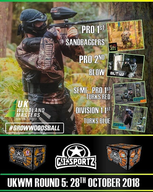 Thats Round 5 and the 2018 UKWM series in the books! Well done to those teams shooting GI paint! The level of support @gisportzofficial brings to our events is unparalleled. They do the right thing for the industry and support events which in turn supports their customer base!  #growwoodsball
