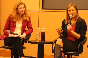 Melissa Lavinson, left, interviews Amanda Renteria, former Hillary Clinton political director, during a roundtable discussion about how to encourage more women to run for political office. (Photo by David Kligman.)