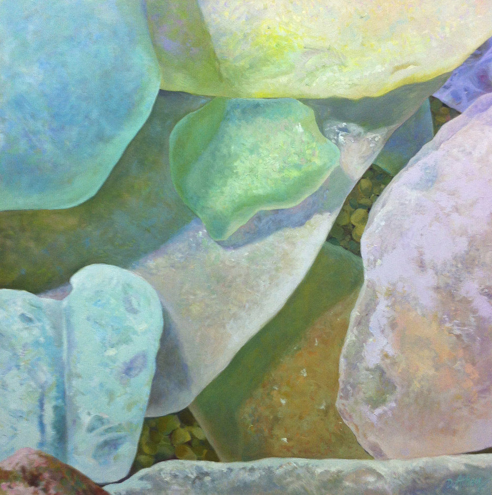 "Seaglass No. 8, 2012, 36x36"", Oil"