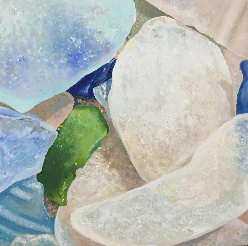 "Seaglass No. 14, 2015, 16x16"", Oil on Wood"