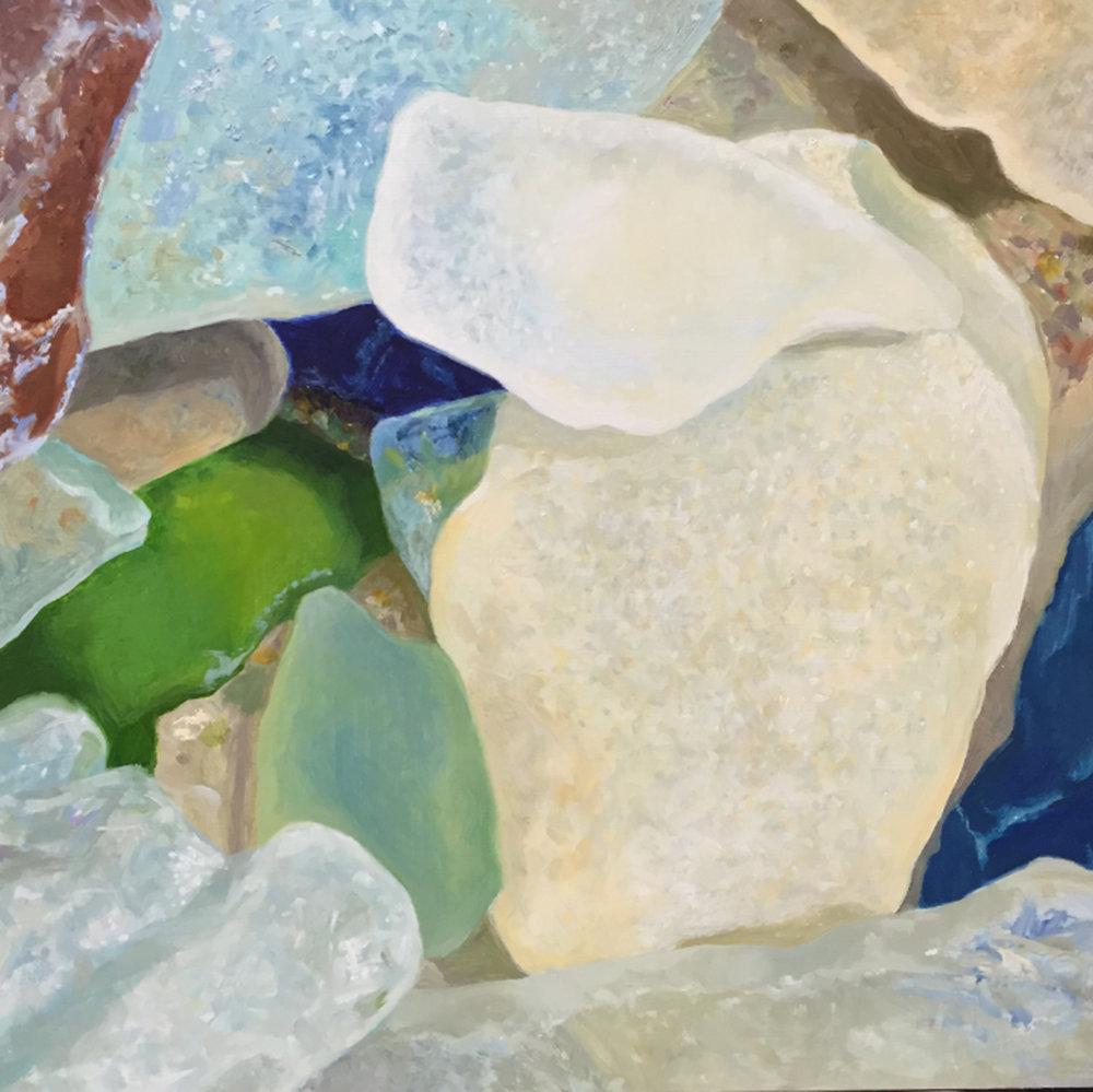 """Seaglass No. 16, 2016,  16x16"""", Oil"""