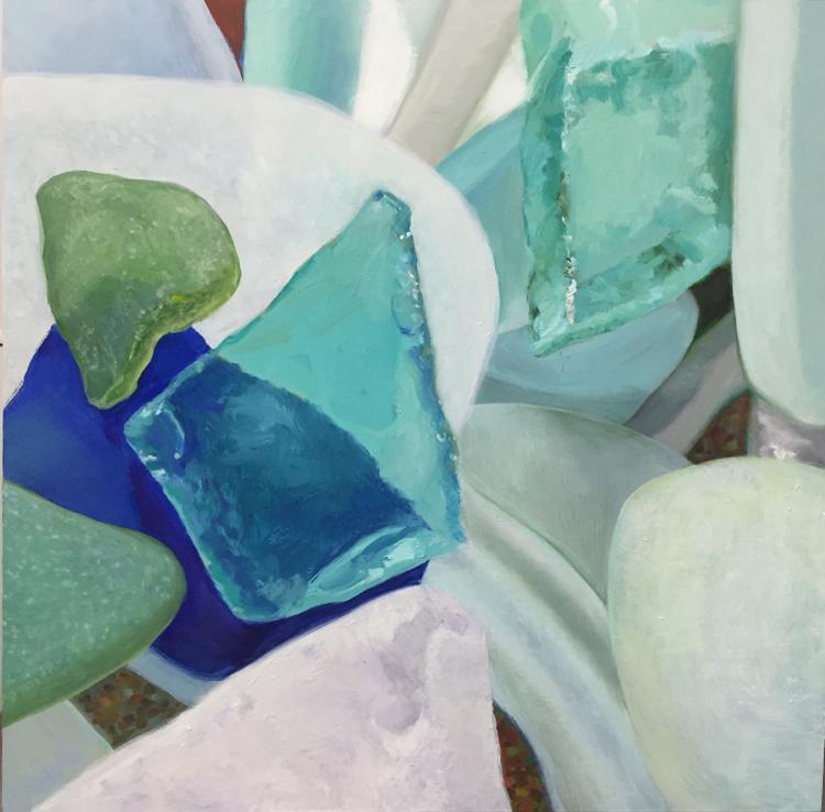 "Seaglass No. 15, 2016, 16""x16"", Oil on Wood"