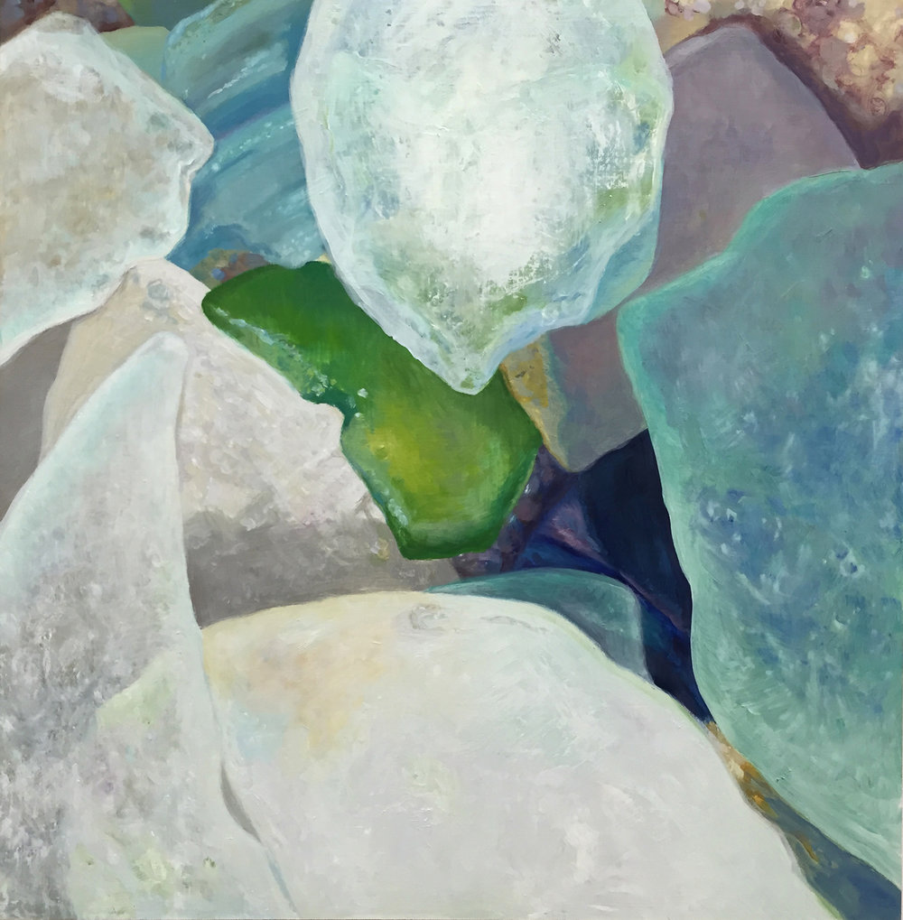 "Seaglass No. 9, 2014, 16x16"", Oil"