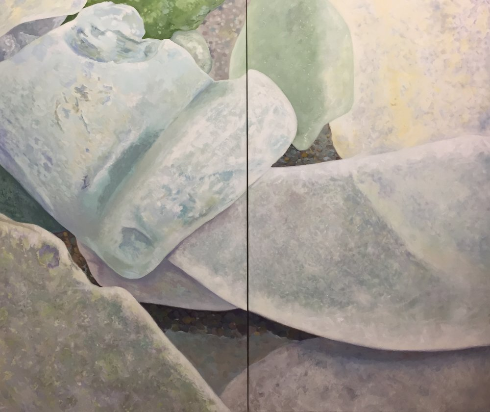 "Seaglass No. 7, 2-panel, 2014, 60x72"", Oil"