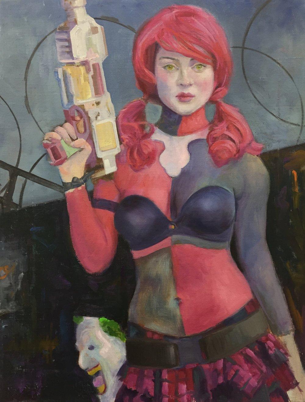 """Comicon Harlequin"", 2018, 16x20"", Oil on Linen"