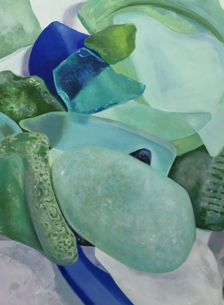 "Seaglass No. 17, 2017, 30x36"", Oil"