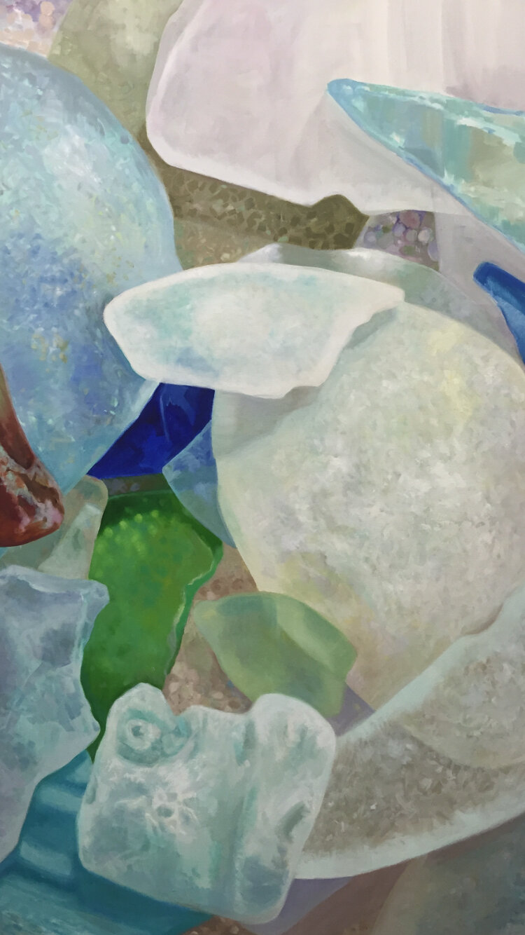 "Seaglass No. 18, 2017, 36x60"", Oil"