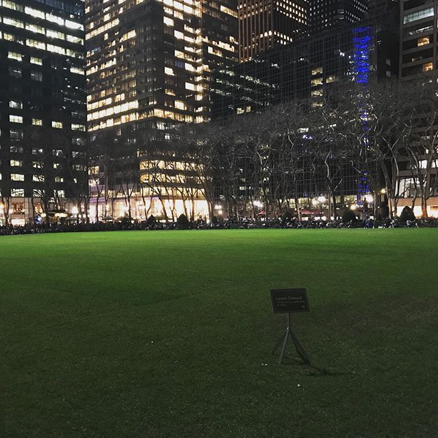 All that green and nowhere to sit. The sod is still growing its roots. #nyc #spring #grass #roots #signs