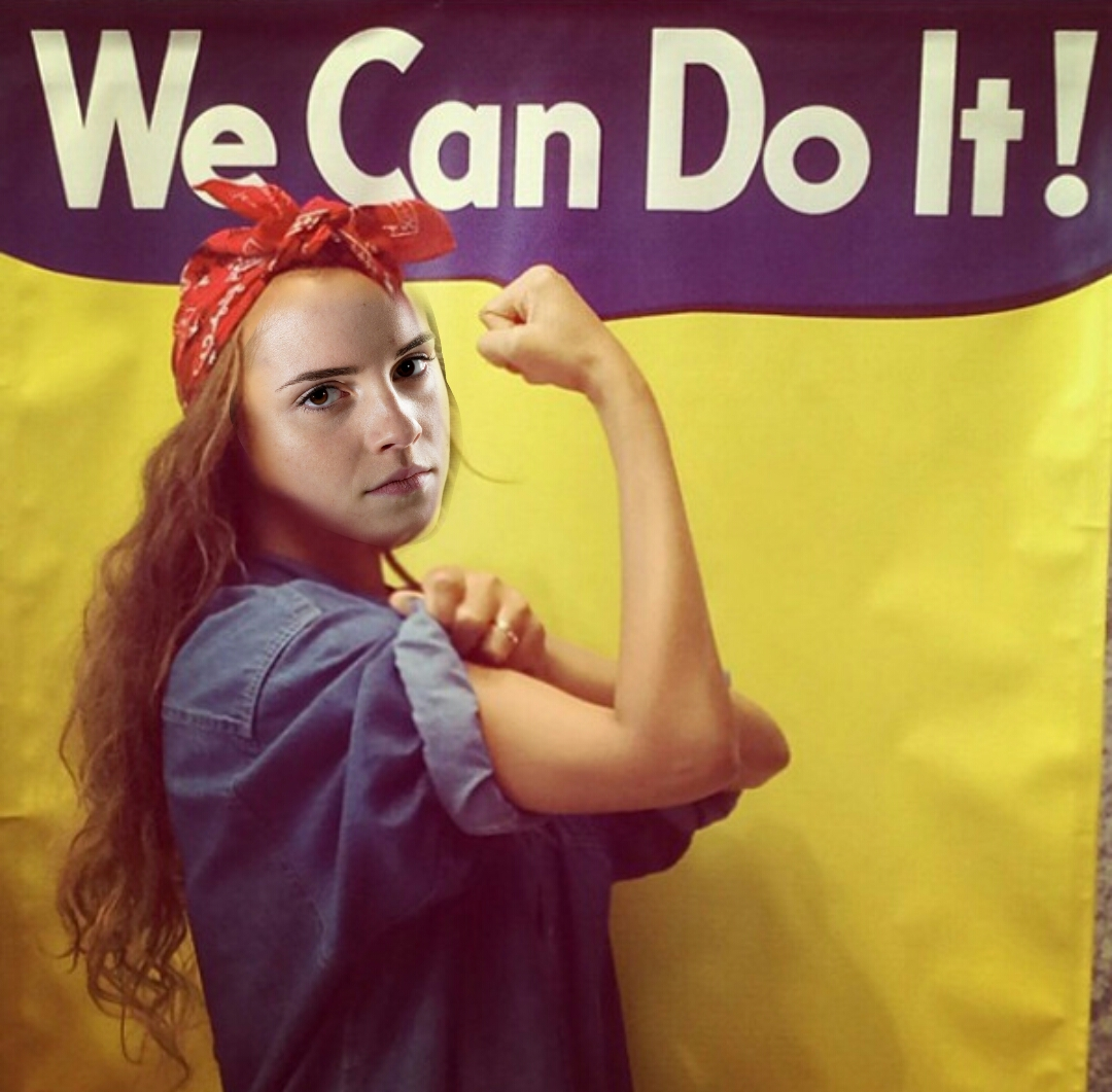 Hermione as Rosie the Riveter. Girl Power.