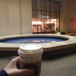 Hand-selfie, featuring a Vanilla latte, turned-off fountain, and a locked Dillards. #NorthParkAtDawn