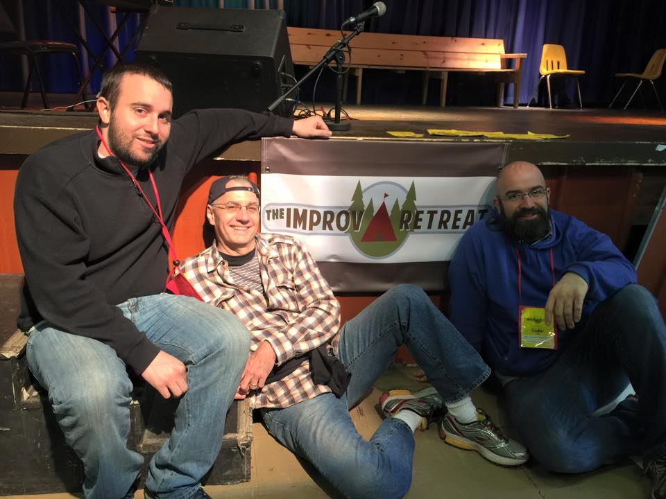 Dallas Comedy House performers Jonathan Patrick, Doug Barton, and Cesar Villa attend the Improv Retreat in Mukwonago, Wisconsin, at the end of May.