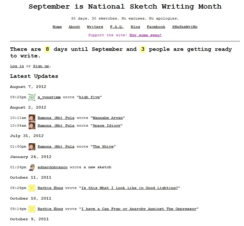 National Sketch Writing Month