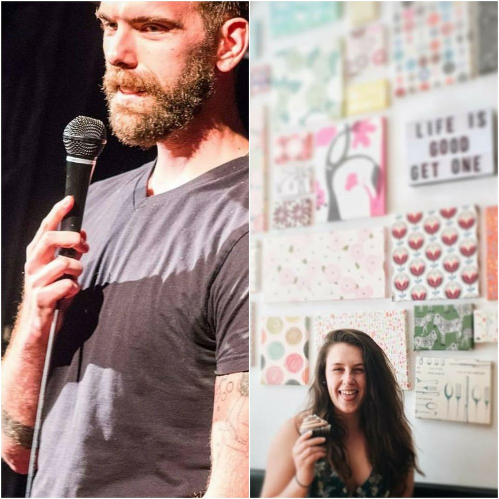 (On the Left: Zac eyein' some nachos in the audience while in the middle of a sick punchline delivery. On the Right: Michaela manifesting physical art pieces from her mind.)