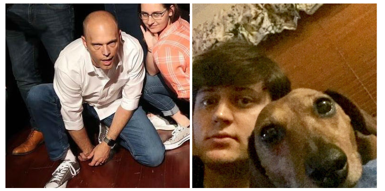 On the Left: Grant insisting he feels fine and he'll shake off this case of rabies in a day. On the Right: Jay being photobombed by some human in the back.