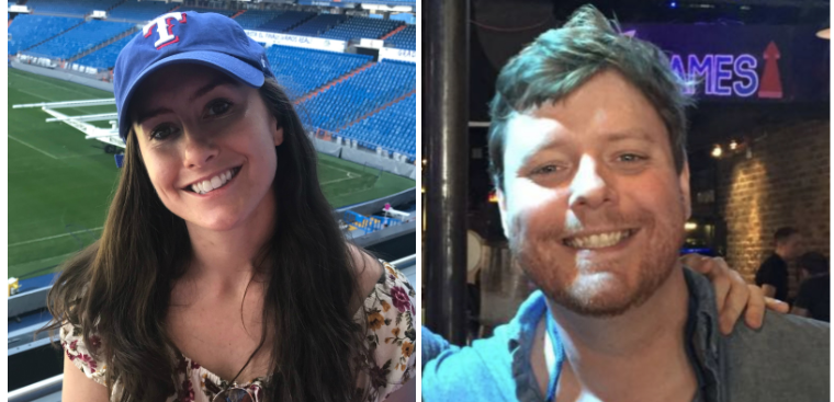 (On the Left: Caroline about to sit down at a baseball game! Did you know she owns the Texas Rangers? On the Right: Danny about to enter the Games Wing at his luxurious mansion.)
