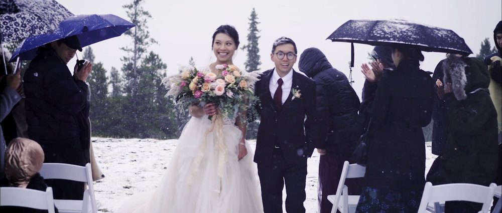 Tunnel mountain outdoor winter wedding video, Banff wedding video.jpg
