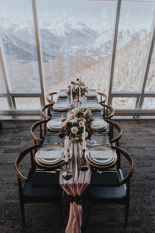 Sky Bistro Banff wedding, reception with mountain views, Flowers by Janie.jpg